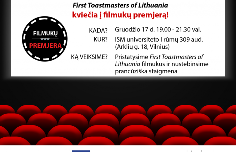 "Klubo ""First Toastmasters of Lithuania"" Filmų vakaras"